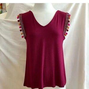 Plus size burgundy top